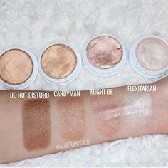 Colourpop highlighters swatch - do not disturb, candy man, might be, and flexitarian