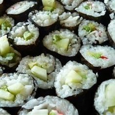 Cucumber and avocado sushi! These rolls are easy to make and you can add either fake crab or smoked salmon. Serve with teriyaki or soy sauce and wasabi!