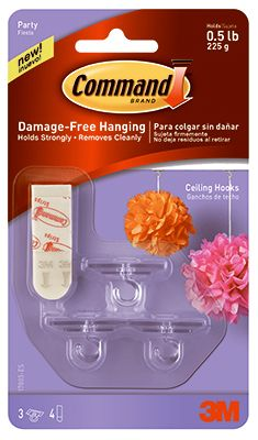 Command, Party Ceiling Hook, Damage Free Hanging, Holds Strongly, Removes Cleanly, Includes3 Hooks & 4 Foam Strips.