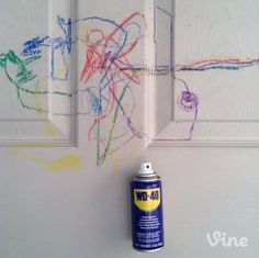 Did your little artist make a crayon masterpiece? A bit of WD-40® works on most surfaces. #Vine #lowesfixinsix