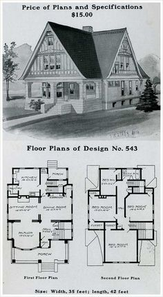 "1903 Radford American Homes. Only one bathroom for a 4 bedroom house! Also note the area just outside the kitchen for the literal ""ice box"". Sims House Plans, Small House Plans, House Floor Plans, The Plan, How To Plan, Building Plans, Building A House, Vintage House Plans, Second Empire"