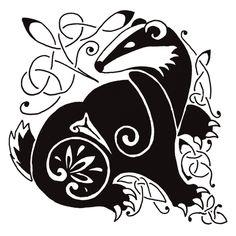 Celtic Badger by Angela Russell Badger Illustration, Illustration Art, Illustrations, Honey Badger Tattoo, Celtic Animals, Tattoo Motive, Fox Tattoo, Celtic Art, You Draw
