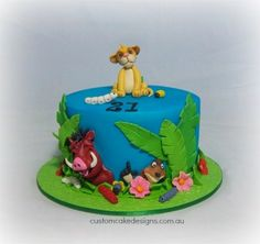 "Very Cute ""Lion King"" Cake, and for a Birthday! They Must Have Only Been a Few Years Old When the Movie Came Out! Lion King Theme, Lion King Party, Lion King Birthday, 1 Tier Cake, Single Tier Cake, Tiered Cakes, Lion Cakes, Lion King Cakes, Safari Cakes"