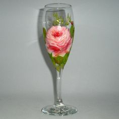 One Hand painted wild rose champagne flute by PaintedDesignsByLona, $18.00