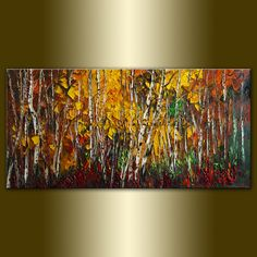 Original Birch Landscape Tree Painting Textured Palette Knife Oil on Canvas Contemporary Modern Art Seasons 18X36 by Willson Lau