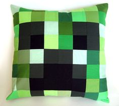 Minecraft Creeper Pillow Cover - Patchwork Creeper Cushion Cover