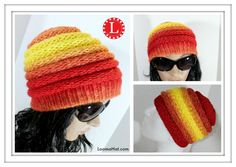 LOOM KNITTING HAT Ombre Beanie Pattern for Men and Women made on the Ext...