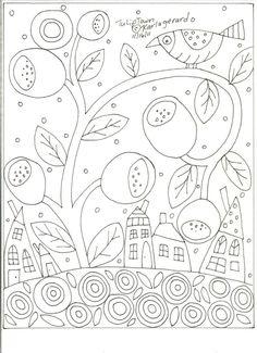 Rug Hooking Craft Paper Pattern Tulip Town 1 Folk Art PRIMITIVE Karla Gerard