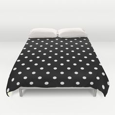 Black And White Polka Dot Art Duvet Cover by kasseggs Polka Dot Art, Polka Dots, Outdoor Furniture, Outdoor Decor, Shower Curtains, Mattress, Promotion, Duvet Covers, Ottoman