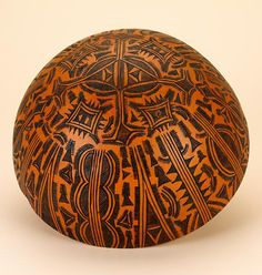 Africa | Bowl from the Tera people of Wuyo, Nigeria | Gourd; pyroengraving (burning lines into the surface with a heated blade) | Late 20th century