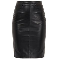 Crisia Black High-Waisted Leather Pencil Skirt ❤ liked on Polyvore featuring skirts, bottoms, high rise skirts, leather pencil skirt, high waisted leather skirt, high rise pencil skirt and real leather pencil skirt