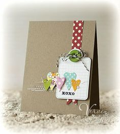 Polka dots with kraft paper - love this! I also like it as a simple scrapbook page layout.