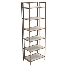 Featuring 6 white shelves and an iron frame, this chic etagere is perfect for displaying treasured novels and family photographs.