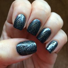 China Glaze Fairy Dust layered over Out Like a Light with Platinum Silver stamping