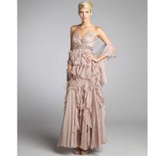 Alberto Makali mauve sheer crinkle chiffon woven embellished ruffle spaghetti strap gown