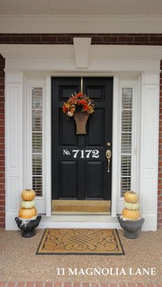 I love the black door! I was originally thinking red, but it think black is a better choice for our home. I can also make the vinyl house numbers, or have it say welcome. Love the numbers on the door Front Door Decor, Front Porch, Front Doors, House Numbers, Door Numbers, Black Doors, Porch Decorating, Decorating Ideas, Home Projects