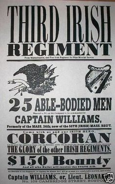 "Civil War Irish Regiment Union Yankee Recruiting Broadside Poster 11""x14"" 048 | eBay"