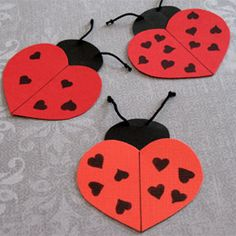 ladybug valentine's heart wings. fasteners can be used to make wings move and message underneath.