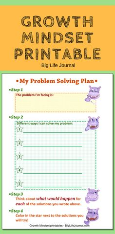 """This printable for kids """"My Problem Solving Plan"""" is a great way to teach them problem-solving skills. A great tool for building self-esteem."""