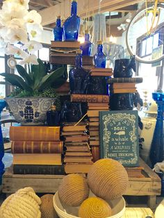 Vintage books,,, blue and white,,, timeless