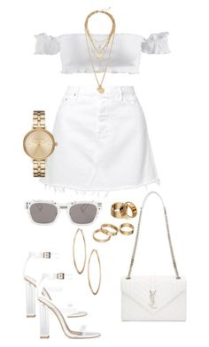 WHITE FT GOLD by emeraudevit on Polyvore featuring polyvore fashion style GRLFRND Yves Saint Laurent Michael Kors Lydell NYC Rebecca Minkoff Apt. 9 Christian Dior clothing