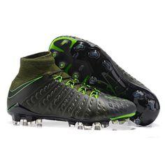 c72a07f98f Botas De Futbol Nike Hypervenom Phantom III DF Tech Craft FG Negro Verde  eléctrico Secuoya