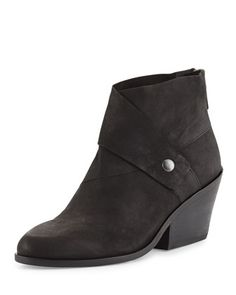 Tag Wrap-Snap Leather Bootie, Black by Eileen Fisher at Neiman Marcus.
