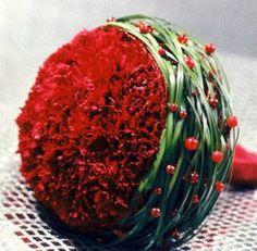 Red Carnation w/ Green Grass Accent Bouquet- Wow! Carnation Wedding Bouquet, Red Carnation, Hand Bouquet, Bridal Flowers, Ikebana, Arte Floral, Bride Bouquets, Carnations, Flower Decorations
