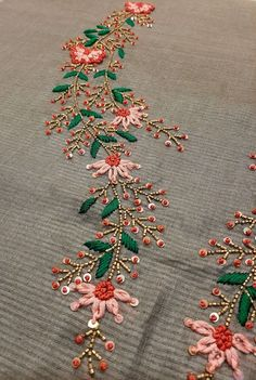 Work is a combination of thread, beads & sequence work Bead Embroidery Tutorial, Hand Embroidery Patterns Flowers, Kurti Embroidery Design, Hand Embroidery Videos, Hand Work Embroidery, Embroidery Flowers Pattern, Flower Embroidery Designs, Bead Embroidery Jewelry, Embroidery On Kurtis