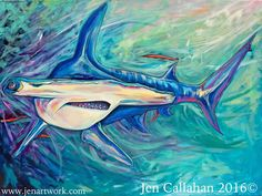 """Hammerhead Shark""-$1400.00 Original Painting by Jen Callahan. This painting was done on a 30""x 40"" gallery wrapped stretched canvas with 1 1/2"" sides. The sides of the canvas are painting. My canvas"