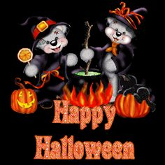 Teddy bears enjoying halloween