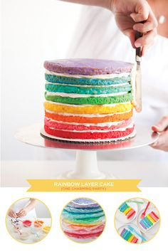 Baby Shower Cakes DIY - DIY Rainbow Cake - Easy Cake Recipes and Cupcakes to Make For Babies Showers - Ideas for Boys and Girls, Neutral, for Twins Beautiful Cakes, Amazing Cakes, Beautiful Beautiful, Party Desserts, Dessert Recipes, Cake Recipes, Dessert Food, Sweet Desserts, Funfetti Kuchen