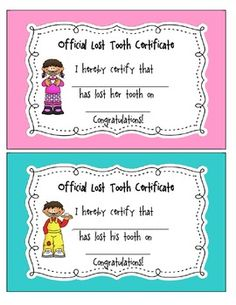 lost tooth certificate free