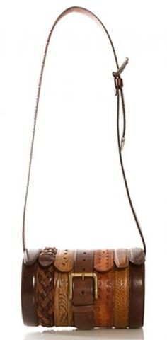 inspiration for making your own Upcycled Leather Belt Bag (ala Rodarte. theirs goes for 750 bucks! Do It Yourself Jewelry, Do It Yourself Fashion, Diy Accessoires, Belt Purse, Leather Belt Bag, Leather Bracelets, Leather Projects, Clutch, Leather Craft