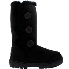 Womens Triplet Button Fully Fur Lined Waterproof Winter Snow Boots: Amazon.co.uk: Shoes & Bags
