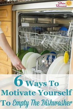 Here are 6 strategies to motivate yourself to empty the dishwasher, even when the idea of unloading it sounds completely unfun. House Cleaning Tips, Diy Cleaning Products, Spring Cleaning, Cleaning Hacks, Laundry Hacks, Cleaners Homemade, Window Cleaner, Organization Hacks, Organizing Tips