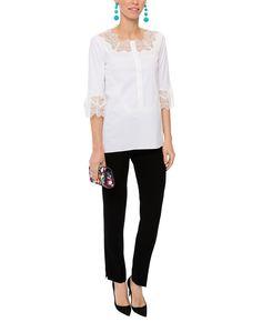 Magda White Stretch Cotton Lace Blouse | Elie Tahari | Halsbrook