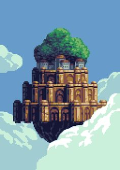 Pixel Castle in the Sky by Goodlyay bitmapr | Create your own roleplaying game books w/ RPG Bard: www.rpgbard.com | Dungeons and Dragons Pathfinder RPG Warhammer 40k Fantasy Star Wars Exalted World of Darkness Dragon Age 13th Age Iron Kingdoms Fate Core Savage Worlds Shadowrun Call of Cthulhu Basic Role Playing Traveller Battletech The One Ring d20 Modern DND ADND PFRPG W40K WFRP COC BRP DCC TOR VTM GURPS science fiction sci-fi horror art