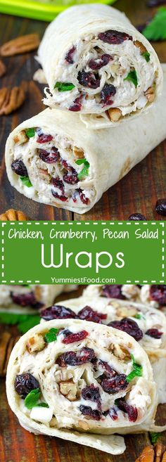 Chicken, Cranberry, Pecan Salad Wraps - a super lunch or wonderful addition! This salad is perfect for any occasion and very easy to make. Chicken, Cranberry, Pecan Salad Wraps - delicious and satisfy (Chicken Dishes For Lunch) Lunch Recipes, New Recipes, Cooking Recipes, Favorite Recipes, Healthy Recipes, Recipies, Easy Recipes, Healthy Chicken Wraps, Healthy Lunches