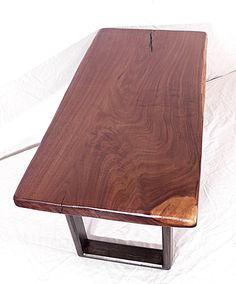 Unique one of a kind reclaimed solid natural live edge rustic walnut slab coffee table custom craftsman hand made in usa