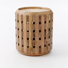 Pierced Wood Drum Side Table #westelm