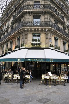 Cafe in Paris, Les deux magots in St Germain.  Can't wait for Chris and I to have our picture taken here:)