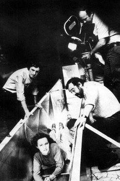 Lamberto Bava et Dario Argento sur le tournage de Démons, 1985.