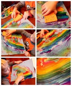Sponge Painting is Super Cool! The effect is very Eric Carle-y. Would be perfect for party bannersRainbow painting sponge art. The effect is very Eric Carle-y. Would be perfect for party banners Rainbow Painting, Rainbow Art, Art For Kids, Crafts For Kids, Arts And Crafts, Sponge Painting, Ecole Art, Toddler Art, Eric Carle