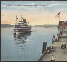 Arrival of the Boat, Kingston Point Park, Kingston, N.Y. :: Ulster County Historical Society