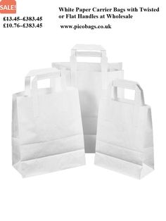 Try our popular white paper carrier bags with flat or twisted handles at wholesale  prices Flat 3ab901f5e6952