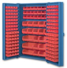 Pocket Door Bin Storage Cabinets With Red Bins