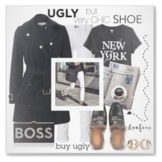 """Ugly but Very Chic loafer: Gucci Loafers ..#streetstyle #Gucci #denim #coat #bag #top #shoe #polyvore"" by fashionlibra84 ❤ liked on Polyvore featuring rag & bone, Old Navy, 7 For All Mankind, Gucci, STELLA McCARTNEY and Milly"