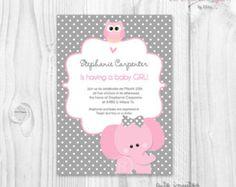 Niña bebé ducha invitación elefante rosado y gris chevron