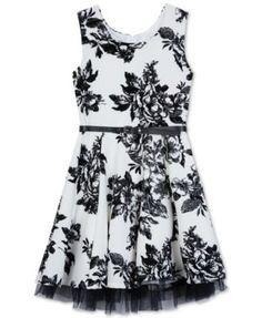 BCX Floral-Print Skater Dress, Big Girls (7-16)